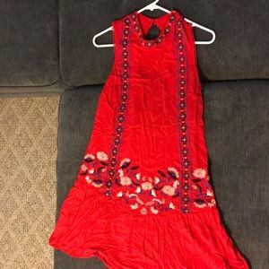 Red Rayon Dress with colorful embroidery
